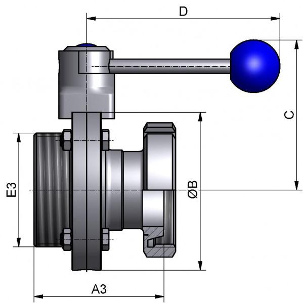 M&S Scheibenventil CLASSIC, DIN-GK, AISI 316L bl., DN 150, Silikon (VMQ)