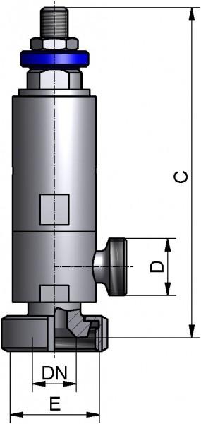 Federsicherheitsventil, DIN-KM/G, AISI 316L pol., DN 25, EPDM