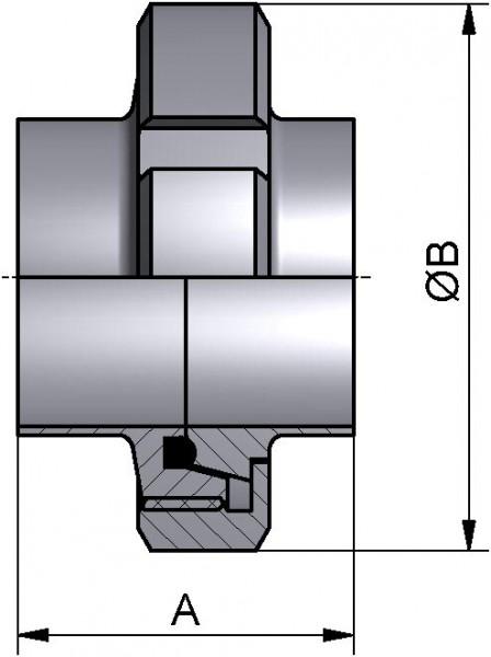 Verschraubung, DIN 11851, AISI 316L bl., DN 100 (104x2mm), NBR (PERBUNAN)