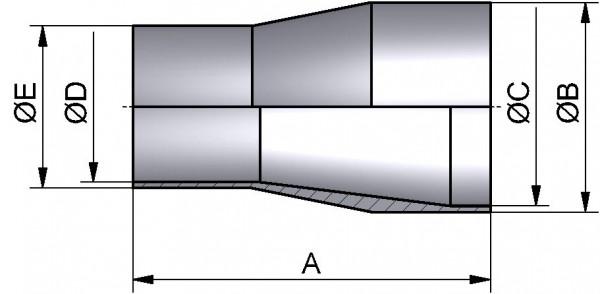 """PharmCom Reduzierstück  SS konz., ASME, DIN 11865-C, 1.4435, 1""""/0,5"""""""