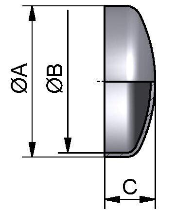 Gewölbter Boden, DIN, AISI 316L matt, DN 100 (104x2mm)