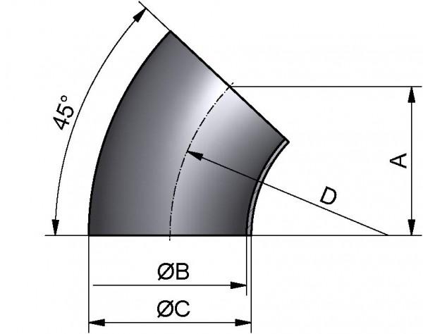"""Bogen 45°, ZOLL-SS, AISI 316L mb., 2,5"""""""