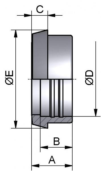 Kegelstutzen, WALZ, AISI 316L bl., DN 32 (34x1,5mm)