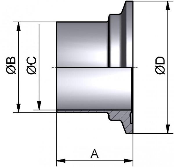 PharmCom Bundklemmstutzen, ISO, DIN 11864, 1.4435, 42,4x2mm