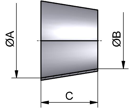 Reduzierstück SS konz., DIN 11852, AISI 304 mb., DN 40/20
