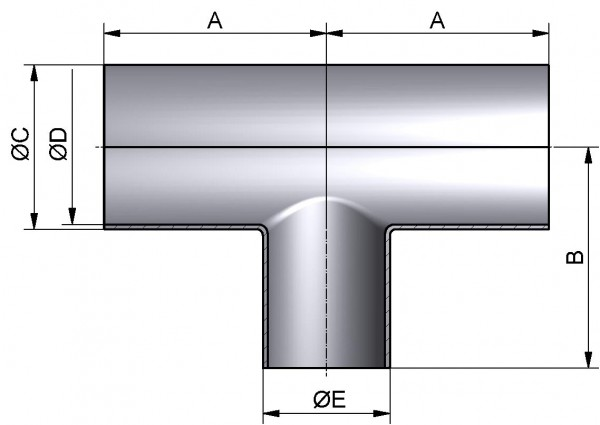 T-Stück-lang-reduziert, DIN 11852-SSS, AISI 304 pol., DN 20/15