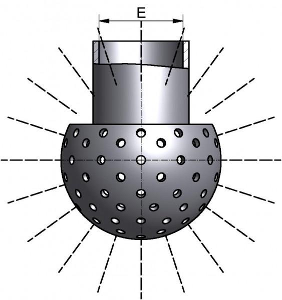 Sprühkugel, LOCHUNG 360°, mit Splint, Di 18,2mm, AISI 316L bl., Ø 30mm, SPRITZKREIS 1,0-1,5m, Durchsatz bei min. 1 bar: 4,2m³/h
