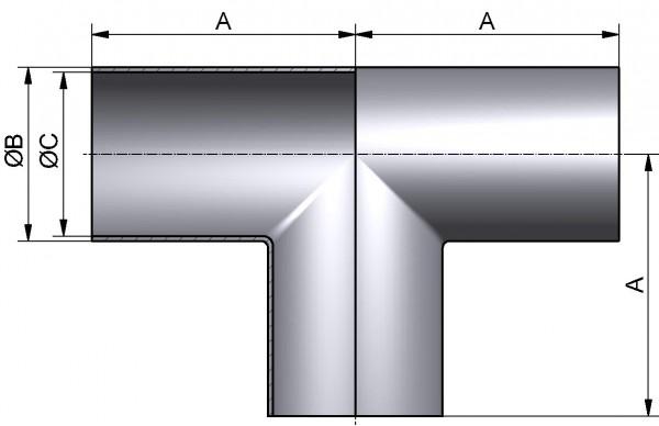 "HyCom T-Stück, ASME-SSS, DIN 11865-C, AISI 316L, 0,5"" (12,7x1,65mm)"