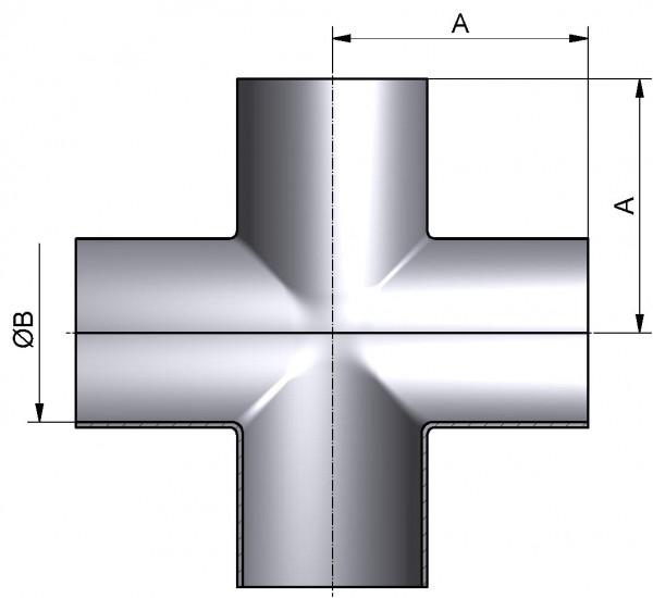 Kreuzstück-lang, DIN 11852-SSSS, AISI 316L pol., DN 80