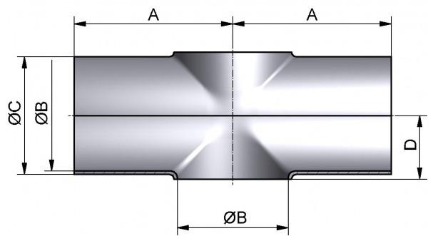 Kreuzstück-kurz, DIN 11852-SSSS, AISI 316L pol., DN 125