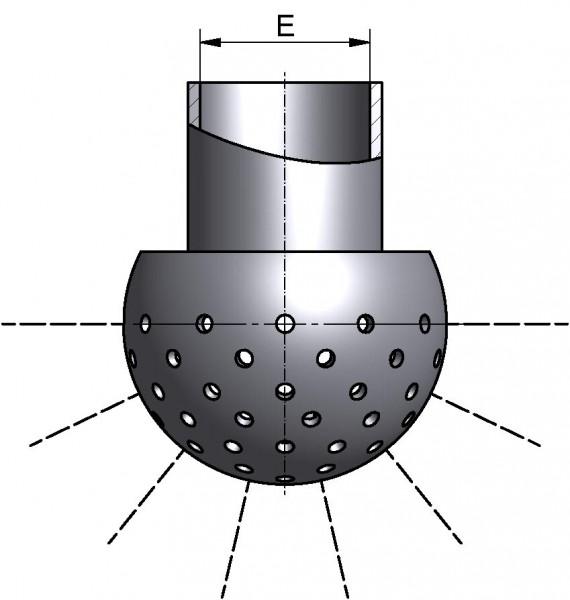 Sprühkugel, LOCHUNG UNTEN 180°, mit Splint, Di 22,2mm, AISI 316L bl., Ø 40mm, SPRITZKREIS 2,0-2,5m, Durchsatz bei min. 1 bar: 6,3m³/h, bei max. 2,5bar: 9,8m³/h
