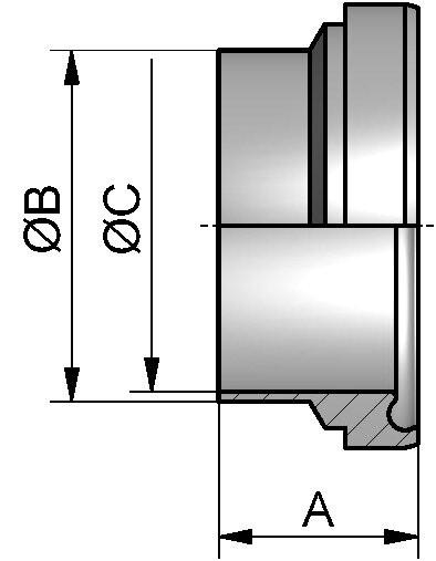 "HyCom Bundstutzen, ASME, DIN 11853, AISI 304L, 3"" (76,2x1,65mm)"