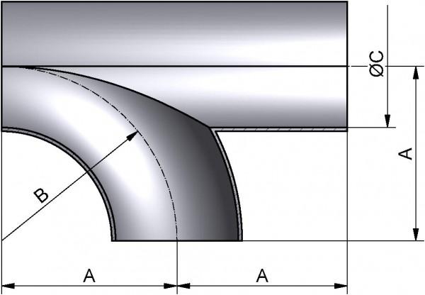 T-Bogen, DIN 11852-SSS, AISI 316L pol., DN 40