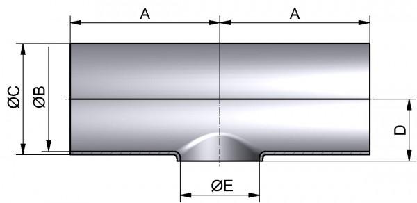 T-Stück-reduziert-kurz, DIN 11852-SSS, AISI 316L mb., DN 125/80