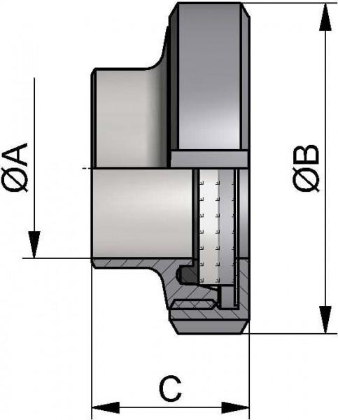 Schauglas DIN-Anschweiß, AISI 316L bl., DN 80, NBR, Hartglas