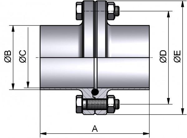 PharmCom Flanschverbindung, ISO, DIN 11864, 1.4435, 114,3x2,3mm