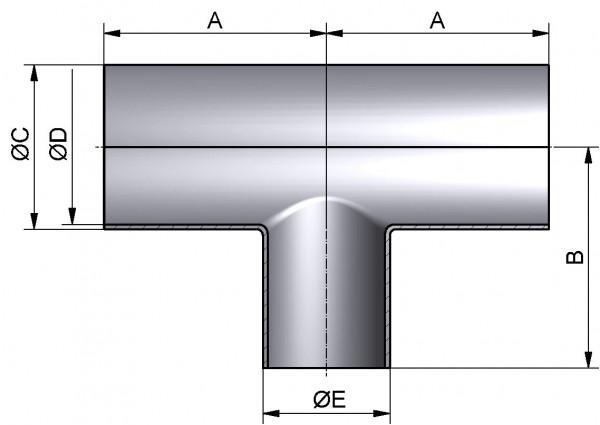 T-Stück-lang-reduziert, DIN-SSS, AISI 304 pol., DN 40/15