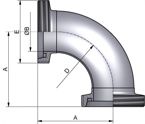 Bogen 90°, DIN-GG, AISI 316L pol., DN 20