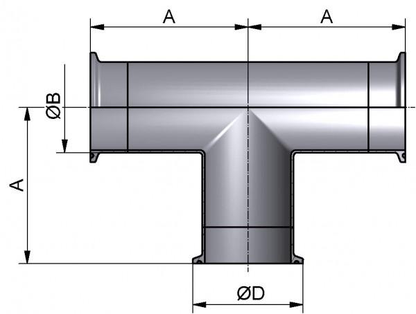 T-Stück-lang, DIN-CCC, AISI 316L matt, DN 32