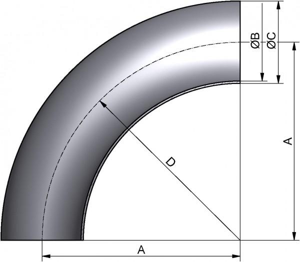 Bogen 90°, DIN 11852-BA5, AISI 316L pol., DN 32