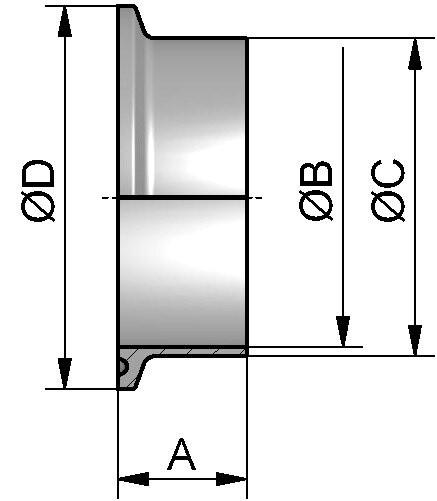 Clampstutzen (TC), DIN 32676-B-KK, ISO, AISI 316L bl., DN 25 (33,7mm), FL 50,5mm, L 21,5mm