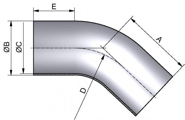 Bogen 45°, DIN 11852-SS, AISI 304L BC pol., DN 65