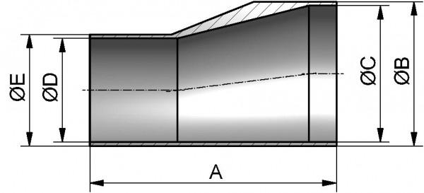 HyCom Reduzierstück  SS exz., ISO, DIN 11865-B, AISI 316L, 26,9/21,3/60mm