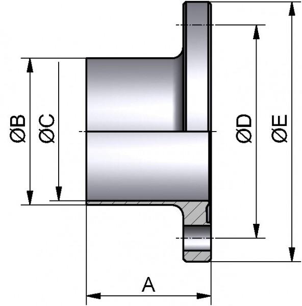 PharmCom Bundflansch, ISO, DIN 11864, 1.4435, 21,3x1,6mm