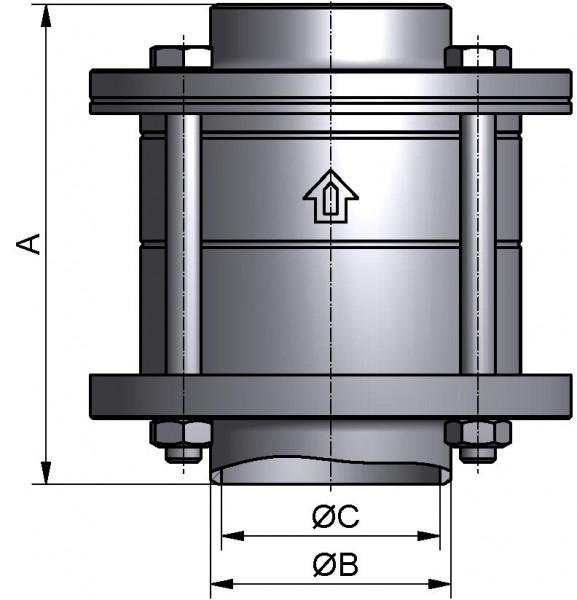 M&S Tellerrückschlagventil, DIN-ZF, AISI 316L bl., DN 40, EPDM