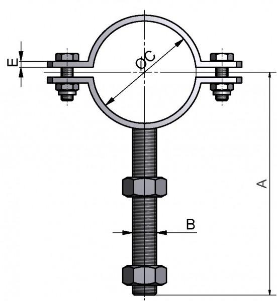 Rohrschelle, ISO, mit Gewindeschaft M12, AISI 304 matt, 114,3mm