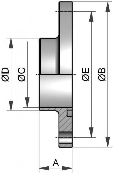 Kleinflansch mit Nut, DIN, AISI 304 bl., DN 150 (154x2mm)