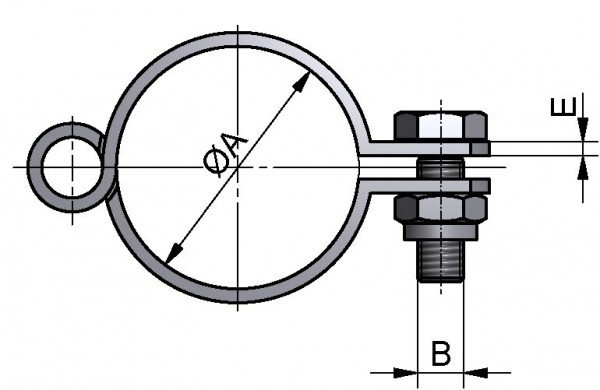 Rohrschelle klappbar, DIN, ohne Schaft, AISI 304 pol., DN 100