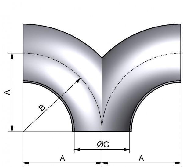 Doppel-T-Bogen, DIN 11852-SSS, AISI 304 pol., DN 100