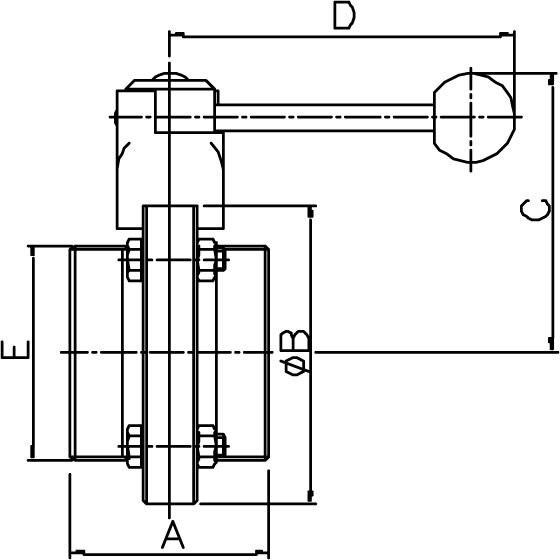 M&S Scheibenventil CLASSIC, DIN-GG, AISI 304 bl., DN 125, EPDM