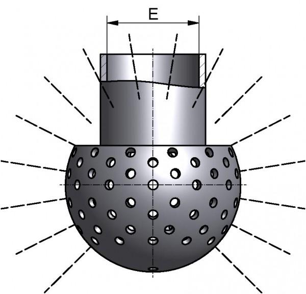 Sprühkugel, LOCHUNG OBEN 270°, mit Splint, Di 34,3mm, AISI 316L bl., Ø 64mm, SPRITZKREIS 2,5-3,5m, Durchsatz bei min. 1 bar: 11,4m³/h, bei max.2,5bar: 18,6m³/h