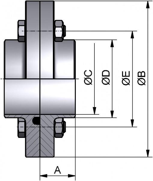 Kleinflanschverbindung komplett, DIN, AISI 316L bl., DN 32 (35x1,5mm), NBR (PERBUNAN)