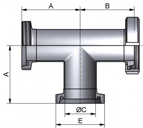 T-Stück-lang, DIN-GKG, AISI 304 matt, DN 50