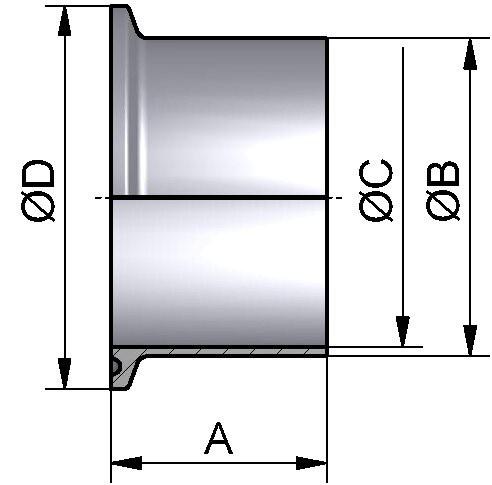"""PharmCom TC-Stutzen, ASME-BPE, DIN 32676, 1.4435, 2"""" (50,8x1,65mm)"""