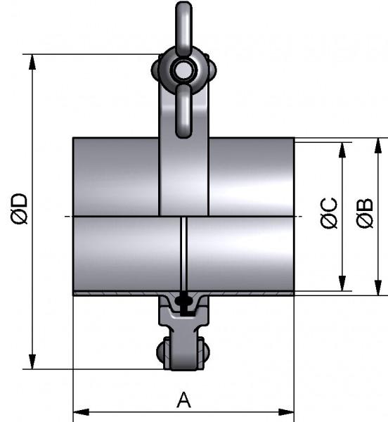 PharmCom TC-Verbindung, ISO, 1.4435, 42,4x2mm, FL 50,5mm