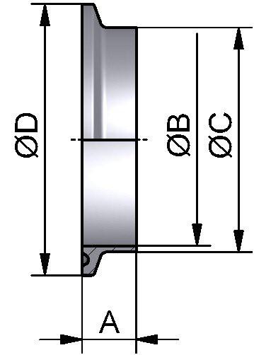 Clampstutzen (TC), KURZ, AISI 316L bl., DN 40 (41x1,5mm), FL 50,5mm, L 13mm
