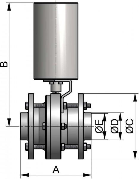 M&S Kugelventil, DIN-ZF, AISI 316L bl., DN 80, PTFE / FEP