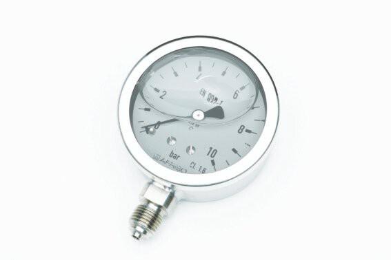 "Rohrfeder-Gly-Chemiemanometer-VA, NG 63 mm, 0 - 0,6 bar, Kl. 1,6, U 1/4"""