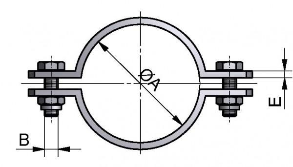 Rohrschelle, ISO, ohne Schaft, AISI 304 matt, 114,3mm