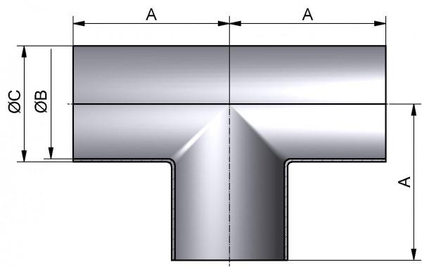 T-Stück-lang, DIN-SSS, AISI 316L mb., DN 40