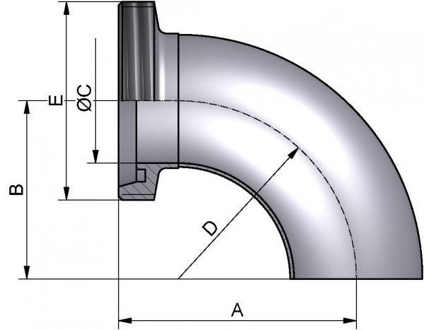 Bogen 90°, DIN-GS, AISI 316L matt, DN 40