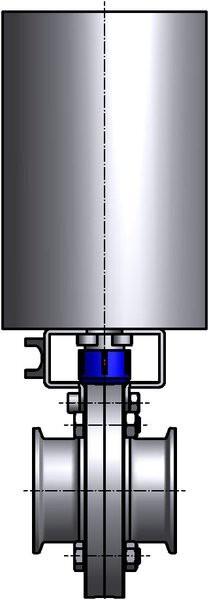 M&S Scheibenventil SV04, DIN-CC, AISI 316L bl., DN 80, Silikon (VMQ)