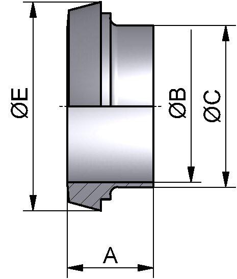 Kegelstutzen, DIN 11851, AISI 316L bl., DN 150 (154x2mm)
