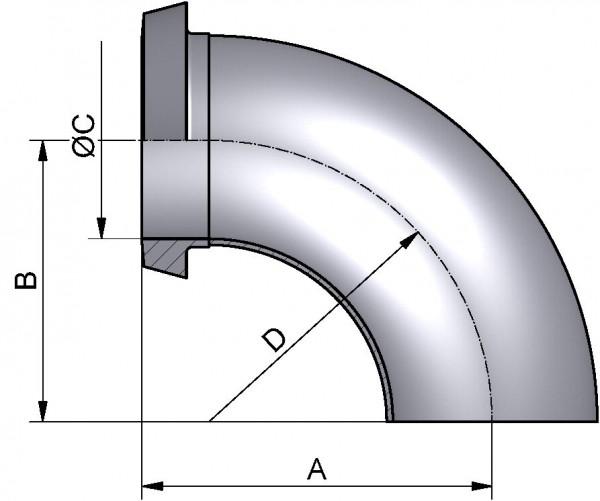 Bogen 90°, DIN-KS, AISI 316L matt, DN 20