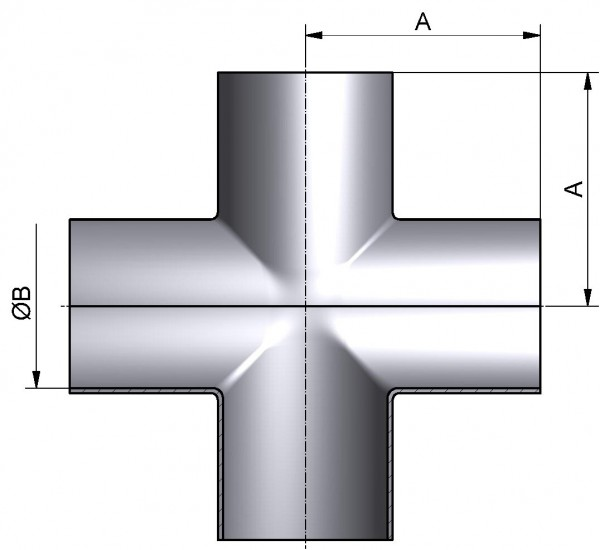 Kreuzstück-lang, DIN-SSSS, AISI 316L mb., DN 20