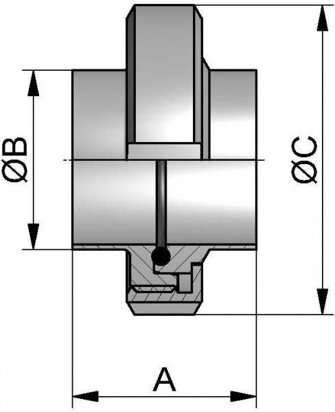 """HyCom Verschraubung, ASME, DIN 11853, AISI 316L, 1,5"""" (38,1x1,65mm)"""